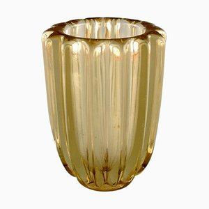 Art Deco Vase in Yellow Art Glass by Pierre d'Avesn, 1940s
