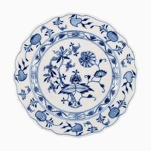 Assiette Antique Meissen Onion Bleue en Porcelaine Peinte à la Main