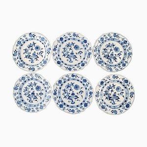 Antique Meissen Blue Onion Dinner Plates in Hand-Painted Porcelain, Set of 6