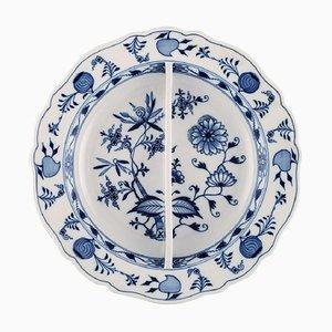 Große antike geteilte Meissen Blue Zwiebel Schale aus handbemaltem Porzellan