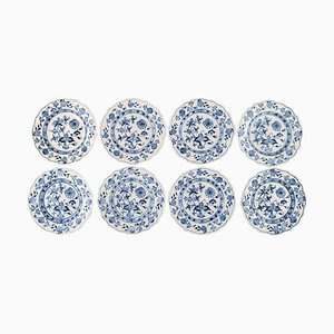 Antique Meissen Blue Onion Plates in Hand-Painted Porcelain, Set of 8