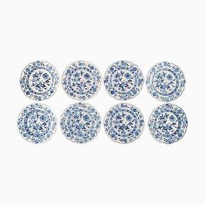 Assiettes à Onion Blue Meissen Antique en Porcelaine Peinte à la Main, Set de 8