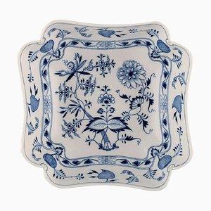 Large Antique Meissen Blue Onion Square Bowl in Hand-Painted Porcelain