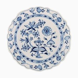 Scodella o piatto antichi Meissen blu in porcellana dipinta a mano