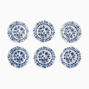 Antique Meissen Blue Onion Bowls in Hand-Painted Porcelain, Set of 6