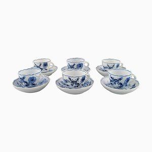 Antique Meissen Blue Onion Coffee Cups with Saucer in Porcelain, Set of 12