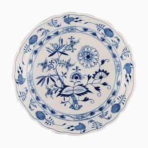 Große antike blaue Meissen Zwiebelschale oder Schale aus handbemaltem Porzellan