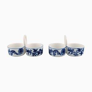 Antique Meissen Blue Onion Condiment Sets in Hand-Painted Porcelain, Set of 2