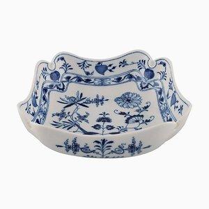 Antique Meissen Blue Onion Square Bowl in Hand-Painted Porcelain