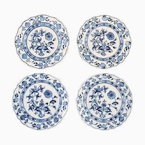 Antique Meissen Blue Onion Plates in Hand-Painted Porcelain, Set of 4
