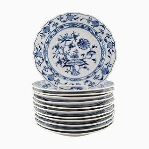 Antique Meissen Blue Onion Lunch Plates in Hand-Painted Porcelain, Set of 12