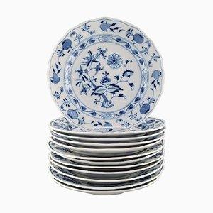 Antike blaue Meissen Teller aus handbemaltem Porzellan, 12er Set