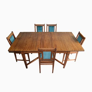 Antique Oak Dining Table & Chairs from Pander & Sons, Set of 6