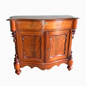 Antique Biedermeier Curved Mahogany Cabinet
