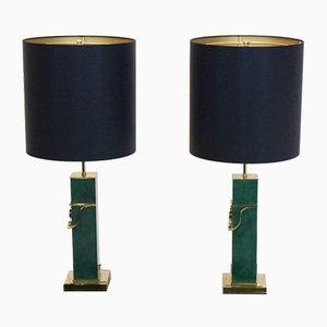 Grüne Mid-Century Modern Messing Tischlampen, 2er Set