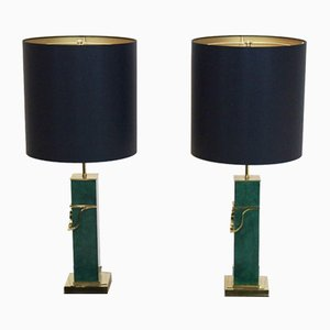 Mid-Century Modern Green and Brass Table Lamps, Set of 2