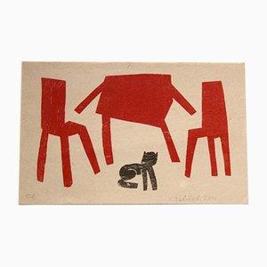 Siebdruck in Schwarz und Rot von Klaas Gubbels, 1930er