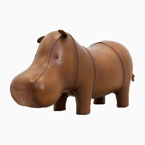 Vintage Omersa Brown Leather Baby Hippo