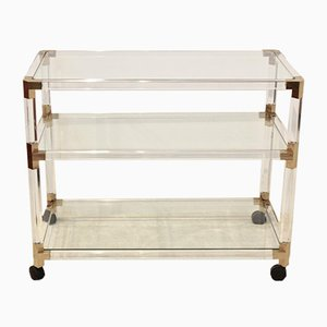 French Lucite and Gold Bar Cart, 1970s