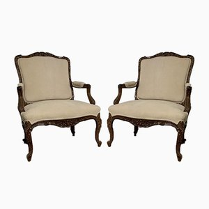 19th Century French Walnut Armchairs, Set of 2