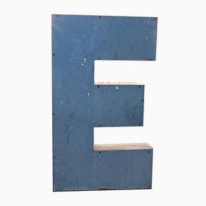 Large Vintage Blue Tin Letter E, 1950s