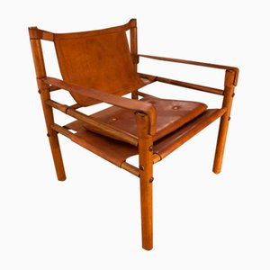 Scandinavian Wood and Leather Safari Chair, 1970s