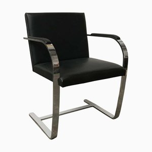 Black Leather Brno Chair by Ludwig Mies van der Rohe for Knoll Inc. / Knoll International, 1980s