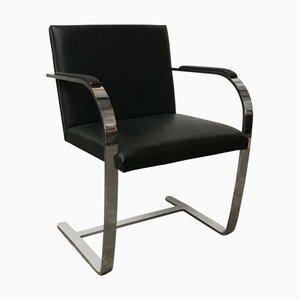Sedia Brno in pelle nera di Ludwig Mies van der Rohe per Knoll Inc. / Knoll International, anni '80
