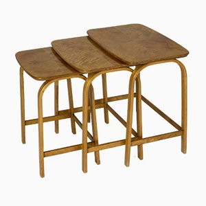 Birch Nesting Tables by Axel Larsson for Bodafors, 1940s