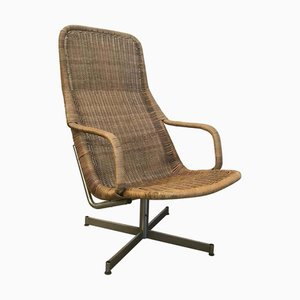 Wicker and Chrome Model 514 Lounge Chair by Dirk van Sliedregt for Gebroeders Jonkers Noordwolde, 1970s