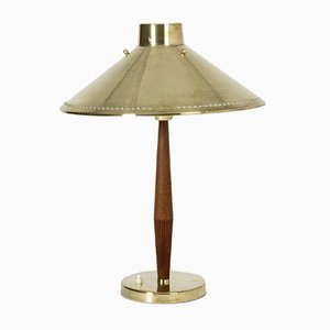 Brass and Teak Table Lamp by Hans Bergström for ASEA, 1950s