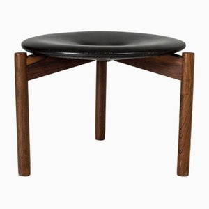 Leather and Rosewood Stool by Uno & Östen Kristiansson for Luxus, 1960s