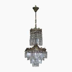 Vintage Empire Style Chandelier with Crystal Pendants, 1950s