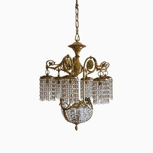 Vintage Art Nouveau Style Italian Brass Chandelier with Swarovski Crystals, 1950s