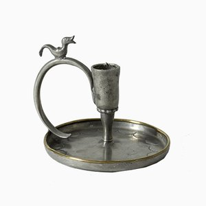 Hanmade Pewter Candleholder from Nils Fougstedt, 1924