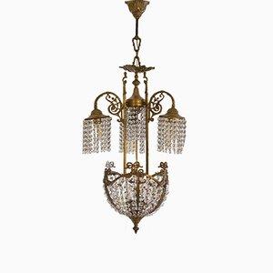 Vintage Art Nouveau Style Brass Chandelier with Swarovski Crystals, 1950s