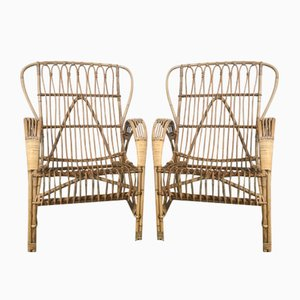 Mid-Century Danish Bamboo Lounge Chairs, Set of 2