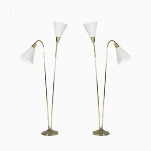 Brass Floor Lamps by Sonja Katzin for ASEA, 1950s, Set of 2