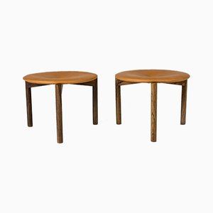 Leather Rosewood Stools by Uno & Östen Kristiansson for Luxus, 1960s, Set of 2