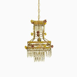 Vintage Empire Style Italian Chandelier with Porcelain Flowers, 1950s