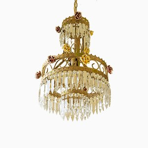 Vintage Empire Style Italian Chandelier with Porcelain Flowers and Crystal Pendants, 1950s