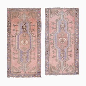 Small Turkish Distressed Low Pile Yastik Rugs, 1970s, Set of 2