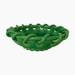 Grüne Mid-Century Keramikschale