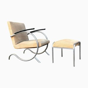 Dutch Corduroy Lounge Chairs by Paul Schuitema for Fana, 1930s, Set of 2