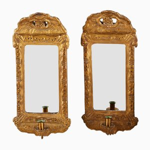 Antique Mirrors with Candleholders, 1880s, Set of 2