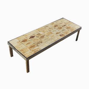 French Ceramic Model Garrigue Coffee Table by Roger Capron, 1950s