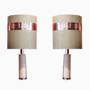 Große italienische Travertin Tischlampen von CE.VA Study, 1970er, 2er Set