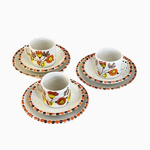 Cups and Saucers Set from De Simone, 1960s, Set of 9