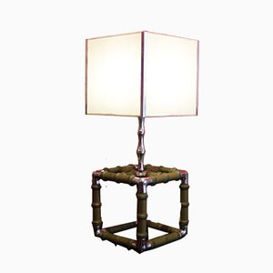 Vintage Faux Bamboo Wood and Steel Cube Table Lamp, 1970s