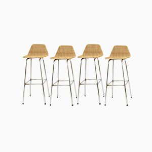 Vintage Barstools by Dirk van Sliedregt for Rohé Noordwolde, 1950s, Set of 4